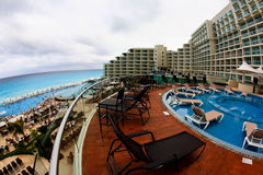 The beach front at a luxury beach resort in Cancun. Mexico, a fisheye view Stock Photos