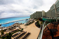The beach front at a luxury beach resort in Cancun. Mexico, a fisheye view Royalty Free Stock Photo