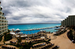 The beach front at a luxury beach resort in Cancun Stock Photos