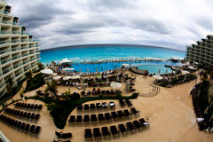 The beach front at a luxury beach resort in Cancun Royalty Free Stock Photography