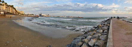 The beach-front in Marbella. The panorama of Mediterranean coastline in famous Marbella, Costa del Sol, Andalusia, Spain Royalty Free Stock Image