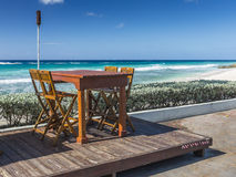 Beach front restaurant Barbados Stock Photo
