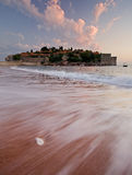 Beach in front of Sveti stefan Royalty Free Stock Image