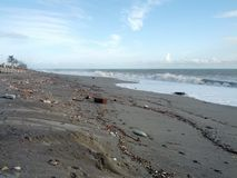 Beach full of debris after storm Royalty Free Stock Images