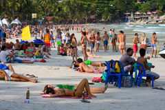 Beach before the full moon party in island Koh Phangan, Thailand Royalty Free Stock Photography