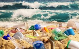 Beach full of plastic waste stock photography