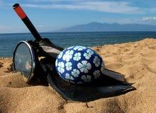 Beach Fun. Fun items on the beach - beach ball and snorkeling gear royalty free stock photos