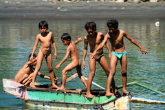 Boys in a boat Stock Image