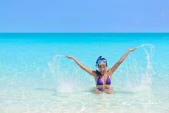 Beach fun holiday woman swimming playing in water. Beach holiday woman playing in the ocean. Asian young adult wearing a snorkel scuba mask having fun splashing Stock Image