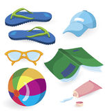 Beach fun items. Isolated on white background vector illustration Stock Photos