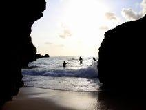 Beach and fun. Play with wave at the padang padang beach bali Stock Photo