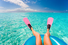 Beach fun woman flippers Stock Photo