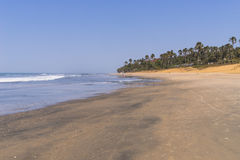 Beach in Gambia. View of the beach and the Atlantic Ocean in Gambia royalty free stock images
