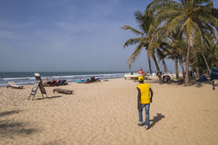 Beach in Gambia. View of the beach and the Atlantic Ocean in Gambia stock photo