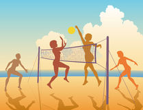 Beach game. Editable vector colorful silhouettes of women playing beach volleyball Royalty Free Stock Photography