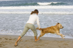Beach game. Young girl running with her golden retriever close to the water Royalty Free Stock Image