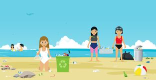 Beach garbage. Girls in swimsuit are helping to collect garbage on the beach Stock Image