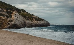 The beach of Garraf. Mediterranean beach in Garraf, province of Barcelona, Catalonia, northern Spain Stock Image