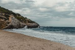 The beach of Garraf. Mediterranean beach in Garraf.  Province of Barcelona, Catalonia, northern Spain Royalty Free Stock Photos