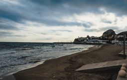 The beach of Garraf, province Barcelona. Mediterranean sea in Garraf, province of Barcelona, Catalonia, northern Spain Stock Images