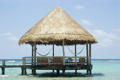 Beach Gazebo. On the ocean royalty free stock photos