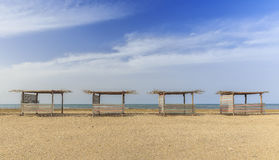 Beach gazebo on one of the beaches of the Caspian coast Stock Image