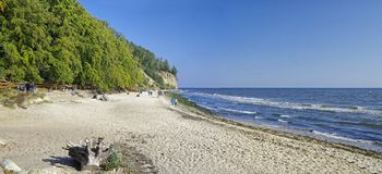 The beach in Gdynia Orlowo at Baltic Sea bay in Poland, Europe Royalty Free Stock Photos