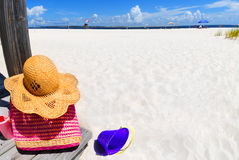 Beach gear on boardwalk Royalty Free Stock Photo
