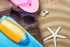 Beach gear lie on the sand Royalty Free Stock Photography