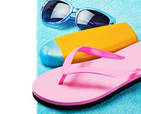 Beach gear lie on the sand Stock Images