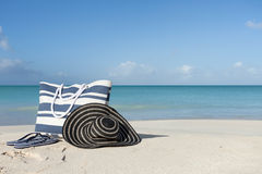 Beach gear on the sand Stock Images
