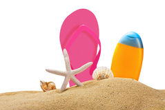 Beach gear on the sea sand isolated Stock Images