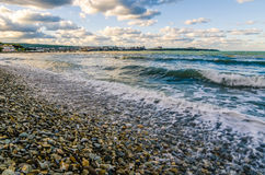 The beach in Gelendzhik. View of the sea and the city of Gelendzhik Stock Photo