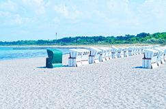 Beach on the German Baltic Sea with beach chair and holiday feeling with sand.  stock photography