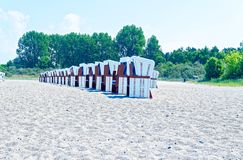 Beach on the German Baltic Sea with beach chair and holiday feeling with sand.  stock images