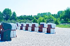 Beach on the German Baltic Sea with beach chair and holiday feeling with sand.  royalty free stock photos