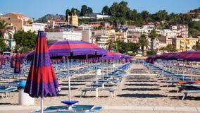 Beach of Giardini Naxos town in summer morning Royalty Free Stock Photos