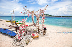 Beach on Gili islands, Meno. Shall decoration on beach Gili islands, Meno, Indonesia Royalty Free Stock Photography