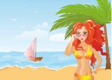 Beach Girl. Vector illustration. Girl standing on the tropical beach vector illustration