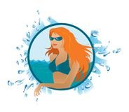 Beach girl. Illustration of the girl on the beach in the round frame Royalty Free Stock Photo