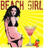 BEACH GIRL. Beautiful women are affected by the heat of summer can take the ice cold strawberry juice stock illustration