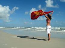 Beach girl. Girl with the beach towel to the wind Stock Photos
