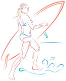 Beach girl. Brush stroke beach girl line drawing with isolated white background Royalty Free Stock Image