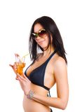 Beach girl with cocktail Royalty Free Stock Photography