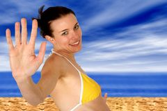 Beach girl - happy summer Royalty Free Stock Photo