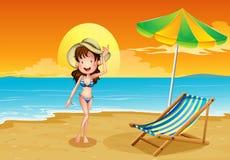 A beach with a girl Stock Photo