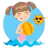 Beach Girl Play Stock Photo