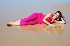 Beach girl relaxing Royalty Free Stock Images