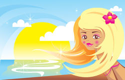 Beach girl on sunshine Royalty Free Stock Photography