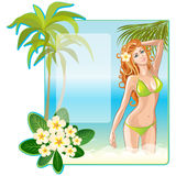 Beach girl in a swimsuit Stock Photography